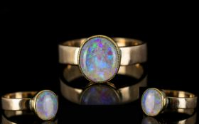 Antique Period 9ct Gold - Single Stone Pave Set Opal Dress Ring,