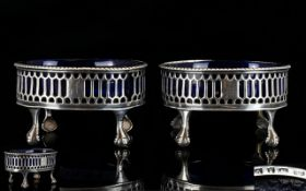 George III Pair of Superb Quality Oval Shaped Silver Salts with Open worked Sides Beaded Borders,