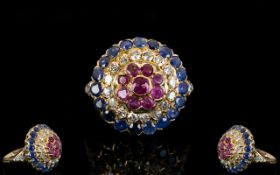 Antique Period Stunning Quality 18ct Gold Diamond / Sapphire / Ruby Set Cluster Ring of Circular