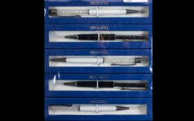 Collection of Swarovski Ballpoint Pens ( 5 ) In Total, All Stylish White and Black Colour way,