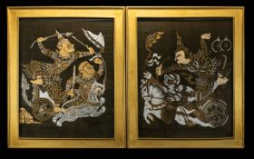 A Pair Of Indonesian Batik Pictures Each framed and glazed in gilt swept frame with gold slub silk