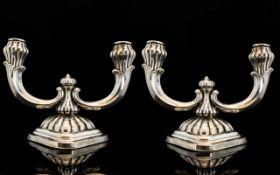 Art Nouveau Period Stylish Pair of Silver Twin Branch Candelabra ' Tulip Bud ' Design. c.1900.