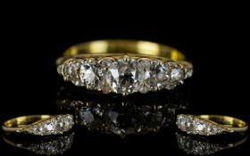 Antique Period - 18ct Gold Superb Quality 5 Stone Diamond Ring, Gallery Set Design.