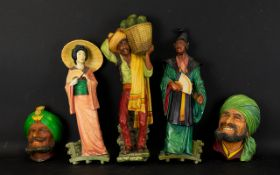 Five Chalkware Bossoms To Include One Indian Male head, one Middle Eastern male head,