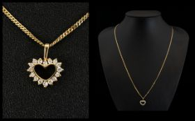 9ct Gold - Heart Shaped Pendant Set with Diamonds ( Brilliant Cut ) Attached to A Long 9ct Gold