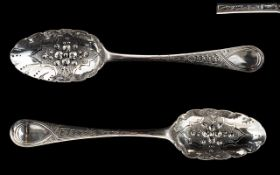 George II Pair of Excellent Quality Silver Berry Spoons In Wonderful Condition - Considering for