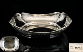 George V Period Nice Quality Silver Fruit Bowl With shaped open work border, in good form.