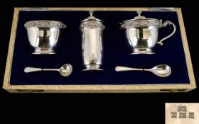 David Lawrence - Silversmith Celtic Banded Solid Silver 3 Piece Cruet Set with Spoons. Original Box.