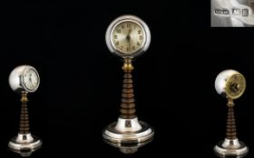 Solid Silver - Attractive Table / Desk Pedestal Clock of The Art Deco Period.