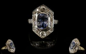 Art Deco Period Stunning 18ct Gold Diamond and Sapphire Set Dress Ring of Excellent Form,