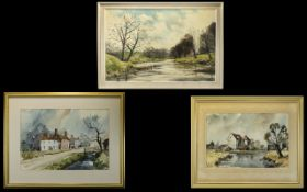 Three Original Artworks Each framed and glazed to include large oil on canvas landscape,