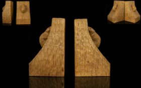 Robert Thompson Mouseman Hand Carved Oak Bookends Of traditional form with integral signature