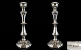 Elizabeth II Superb Quality and Attractive Pair of Celtic Style Solid Silver Candlesticks of