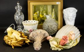 A Collection of Decorative Household Items to include a glass engraved table lamp, framed print,