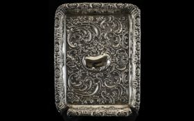 Walker and Hall Superb Quality - Solid Silver Ornately Embossed Tray of Rectangular Shape / Form.