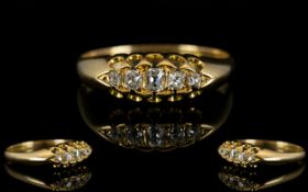 Victorian Period - Top Quality and Attractive 5 Stone Diamond Set Ring, Gallery Setting.