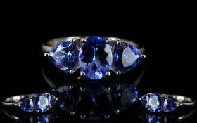 Ladies - Attractive 9ct White Gold - 3 Stone Tanzanite Set Dress Ring,
