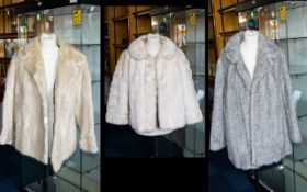 Three Vintage Fur Coats To include one silver grey faux fur jacket with exaggerated shawl collar,
