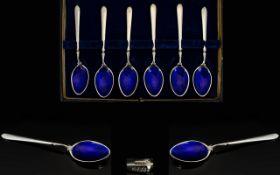 Wonderful Set of Six Silver and Blue Enamel Teaspoons In Original Box / Case.