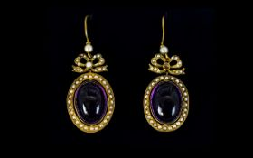 Victorian Period Stunning Pair of 15ct Gold - Oval Shaped Amethyst and Seed Pearl Set Drop Earrings