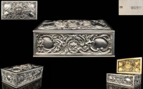 Victorian Late 19th Century Sterling Silver Table Box. Crafted By Silversmiths Louis Dee.
