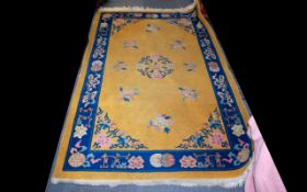 Oriental Wool Rug Ochre ground with cobalt blue border detail in and Traditional oriental motifs