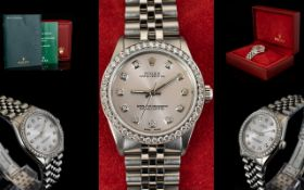 Rolex Automatic Datejust Midi Size Stainless Steel Wristwatch With Afterset Diamond Dot Dial And