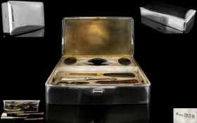 Art Deco Period Boxed Silver Manicure Set A wonderful and well appointed heavy gauge silver hinged