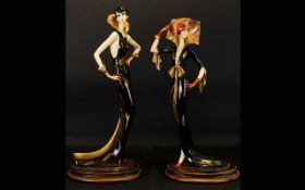 Two Reproduction Art Deco Style Figures Resin figurines, each raised on oval wood base,
