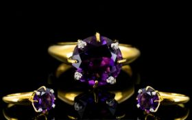 Amethyst Solitaire Ring with diamond tip