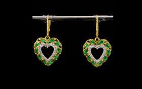 Emerald and Natural Zircon Heart Drop Ea