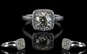 18ct White Gold Diamond Set Halo Dress Ring of Attractive Form and Top Quality