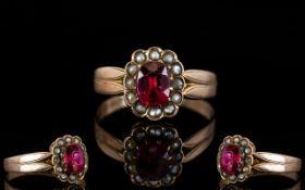 Antique Period 9ct Rose Gold Stone Set C