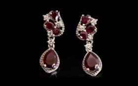 Ruby and Natural Zircon Drop Earrings, p