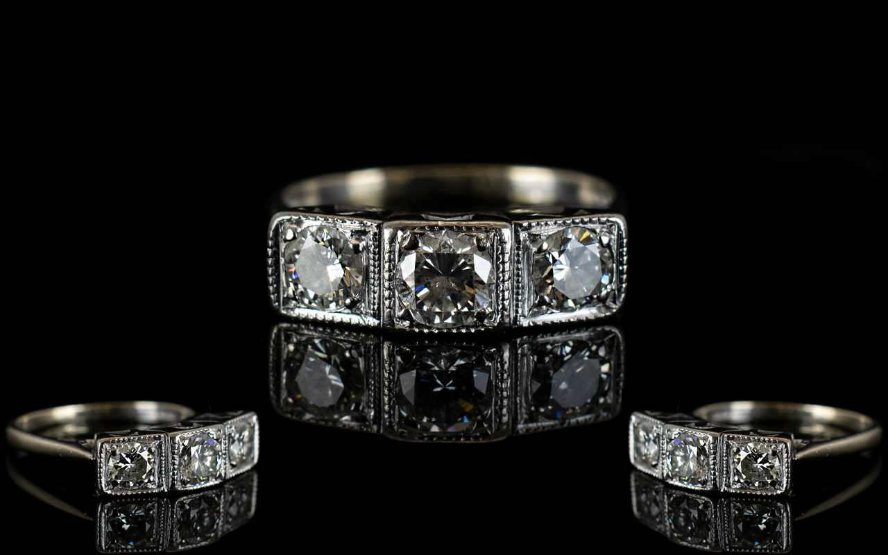 Lot 50 - 18ct White Gold Three Stone Diamond Set
