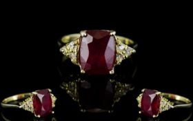 Ruby Solitaire and White Topaz Accents R