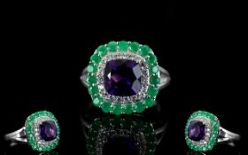 Emerald, Amethyst and White Zircon Ring,