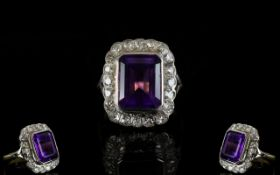 18ct Gold - Superb Quality Amethyst and