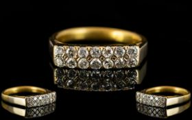 22ct Gold - Channel Set Diamond Ring, We