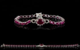 Ruby and White Topaz Accent Bracelet, th