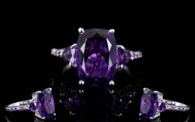 Amethyst Cushion and Trillion Cut Ring,