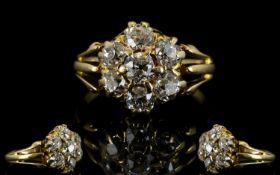 Antique 18ct Gold And Diamond Cluster Ri