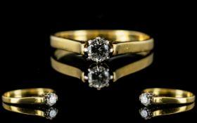 18ct Gold Single Stone Diamond Set Ring,
