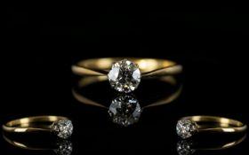 Antique Period 18ct Gold Single Stone Di