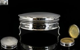 George V - Large and Impressive Solid Silver Circular Lidded Ladies Powder Bowl,