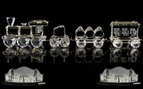 Swarovski - Silver Crystal Train Set ( 4 ) Includes Locomotive, Tender Car,