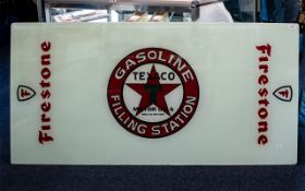 Large Glass Tabletop - Later sign written for Texaco gasoline service station. Rectangular form.