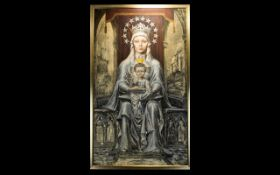 Antique Spanish Colonial, South American Oil Painting On Canvas, Depicting Madonna And Child,