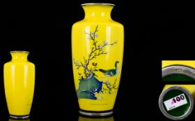 Japanese - Meiji Period 1864 - 1912 Stunning Quality Signed Imperial Yellow Signed Cloisonne on