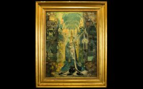 Susan French 1912 - 2003 'Abbey Collage' Original varnished collage, depicting virgin and child,